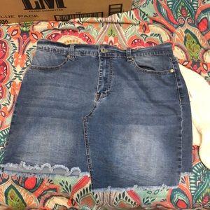 Asymmetrical mini jean skirt